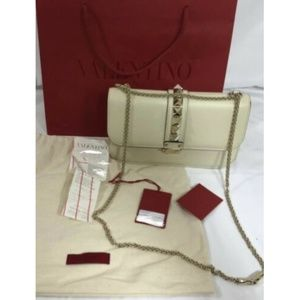 Valentino Women Shoulder Bag Glam Lock Off White